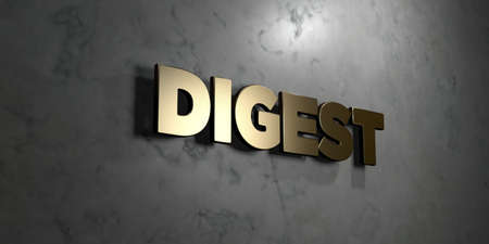 digest: Digest - Gold sign mounted on glossy marble wall  - 3D rendered royalty free stock illustration. This image can be used for an online website banner ad or a print postcard.
