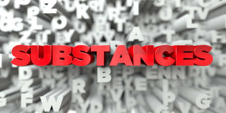 substances: SUBSTANCES -  Red text on typography background - 3D rendered royalty free stock image. This image can be used for an online website banner ad or a print postcard.