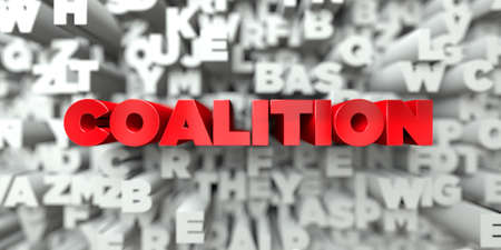 COALITION - Red text on typography background - 3D rendered royalty free stock image. This image can be used for an online website banner ad or a print postcard. Stock Photo