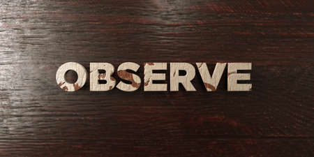 Observe - grungy wooden headline on Maple  - 3D rendered royalty free stock image. This image can be used for an online website banner ad or a print postcard.