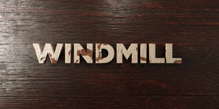 Windmill - grungy wooden headline on Maple  - 3D rendered royalty free stock image. This image can be used for an online website banner ad or a print postcard.