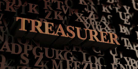 Treasurer - Wooden 3D rendered lettersmessage.  Can be used for an online banner ad or a print postcard. Stock Photo