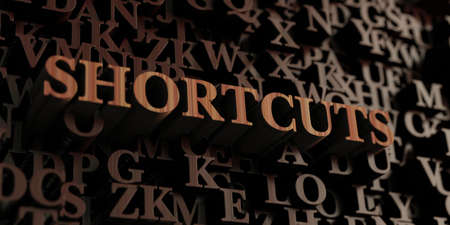 shortcuts: Shortcuts - Wooden 3D rendered lettersmessage.  Can be used for an online banner ad or a print postcard.