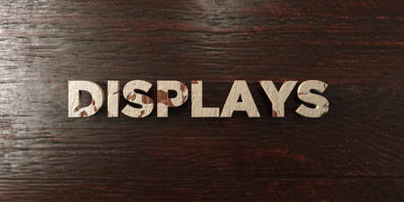 displays: Displays - grungy wooden headline on Maple  - 3D rendered royalty free stock image. This image can be used for an online website banner ad or a print postcard.