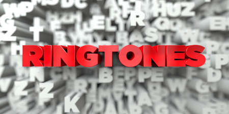 ringtones: RINGTONES -  Red text on typography background - 3D rendered royalty free stock image. This image can be used for an online website banner ad or a print postcard. Stock Photo