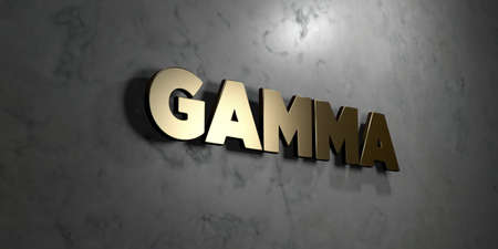 gamma: Gamma - Gold sign mounted on glossy marble wall  - 3D rendered royalty free stock illustration. This image can be used for an online website banner ad or a print postcard.