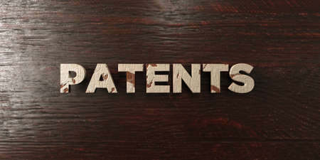 patents: Patents - grungy wooden headline on Maple  - 3D rendered royalty free stock image. This image can be used for an online website banner ad or a print postcard.