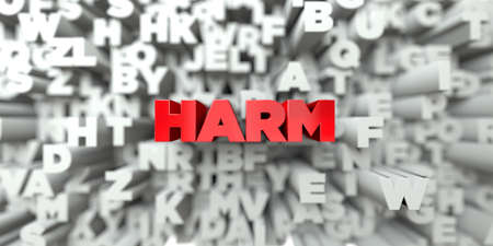 harm: HARM -  Red text on typography background - 3D rendered royalty free stock image. This image can be used for an online website banner ad or a print postcard. Stock Photo