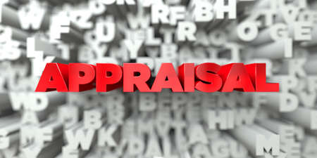 APPRAISAL -  Red text on typography background - 3D rendered royalty free stock image. This image can be used for an online website banner ad or a print postcard.