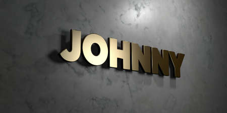 Johnny - Gold sign mounted on glossy marble wall  - 3D rendered royalty free stock illustration. This image can be used for an online website banner ad or a print postcard. Stock Photo