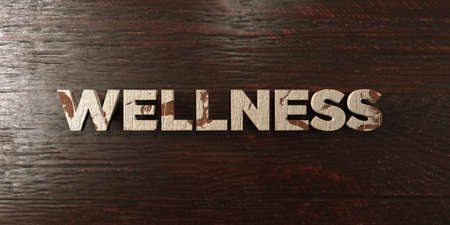 Wellness - grungy wooden headline on Maple  - 3D rendered royalty free stock image. This image can be used for an online website banner ad or a print postcard.