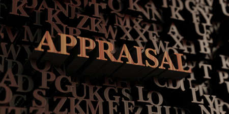 Appraisal - Wooden 3D rendered lettersmessage.  Can be used for an online banner ad or a print postcard. Stock Photo