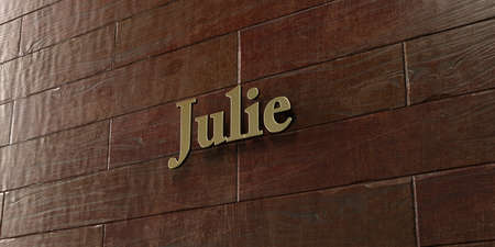 julie: Julie - Bronze plaque mounted on maple wood wall  - 3D rendered royalty free stock picture. This image can be used for an online website banner ad or a print postcard.