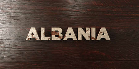 Albania - grungy wooden headline on Maple  - 3D rendered royalty free stock image. This image can be used for an online website banner ad or a print postcard.