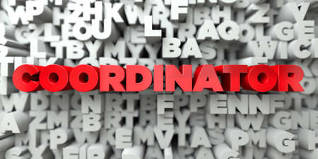 single word: COORDINATOR -  Red text on typography background - 3D rendered royalty free stock image. This image can be used for an online website banner ad or a print postcard. Stock Photo