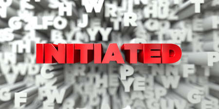 initiated: INITIATED -  Red text on typography background - 3D rendered royalty free stock image. This image can be used for an online website banner ad or a print postcard.