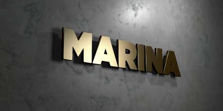 マリーナ - 光沢のある大理石の壁にマウントされているゴールド サイン - 3 D レンダリングされたロイヤリティ無料ストック イラスト。この画像は