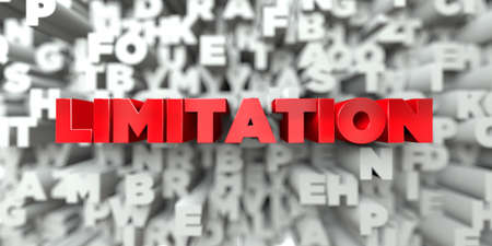 LIMITATION -  Red text on typography background - 3D rendered royalty free stock image. This image can be used for an online website banner ad or a print postcard. Фото со стока
