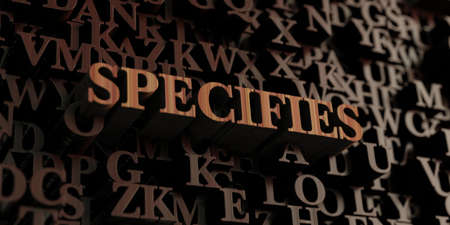 specifies: Specifies - Wooden 3D rendered lettersmessage.  Can be used for an online banner ad or a print postcard. Stock Photo