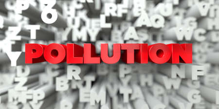 sentence typescript: POLLUTION -  Red text on typography background - 3D rendered royalty free stock image. This image can be used for an online website banner ad or a print postcard.