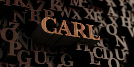 カール - 木製 3 D 文字メッセージを表示されます。 オンラインのバナー広告や印刷のはがきに使用できます。