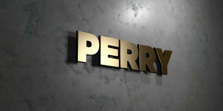perry: Perry - Gold sign mounted on glossy marble wall  - 3D rendered royalty free stock illustration. This image can be used for an online website banner ad or a print postcard. Stock Photo