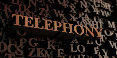 Telephony - Wooden 3D rendered lettersmessage.  Can be used for an online banner ad or a print postcard.