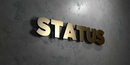 status: Status - Gold sign mounted on glossy marble wall  - 3D rendered royalty free stock illustration. This image can be used for an online website banner ad or a print postcard. Stock Photo