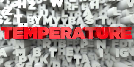 body temperature: TEMPERATURE -  Red text on typography background - 3D rendered royalty free stock image. This image can be used for an online website banner ad or a print postcard. Stock Photo