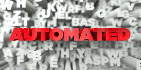 automated: AUTOMATED -  Red text on typography background - 3D rendered royalty free stock image. This image can be used for an online website banner ad or a print postcard.