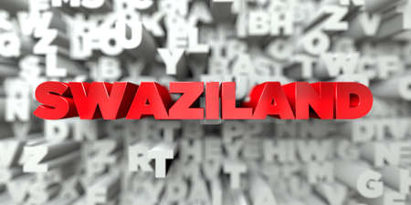 SWAZILAND -  Red text on typography background - 3D rendered royalty free stock image. This image can be used for an online website banner ad or a print postcard.