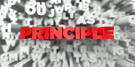 principle: PRINCIPLE -  Red text on typography background - 3D rendered royalty free stock image. This image can be used for an online website banner ad or a print postcard. Stock Photo