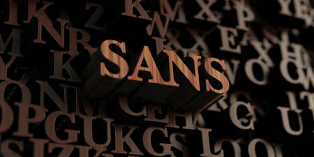 Sans - Wooden 3D rendered lettersmessage.  Can be used for an online banner ad or a print postcard. Stock Photo