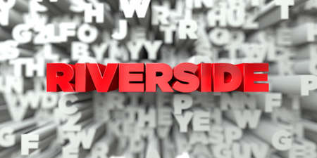 RIVERSIDE -  Red text on typography background - 3D rendered royalty free stock image. This image can be used for an online website banner ad or a print postcard.