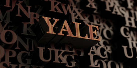 yale: Yale - Wooden 3D rendered lettersmessage.  Can be used for an online banner ad or a print postcard.