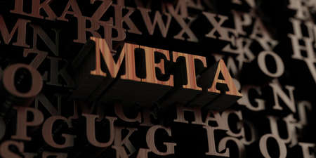 meta: Meta - Wooden 3D rendered lettersmessage.  Can be used for an online banner ad or a print postcard.