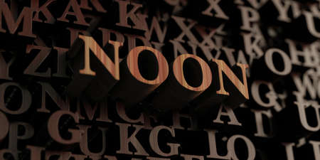 Noon - Wooden 3D rendered lettersmessage.  Can be used for an online banner ad or a print postcard.