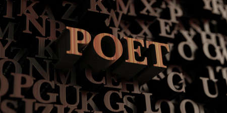 Poet - Wooden 3D rendered lettersmessage.  Can be used for an online banner ad or a print postcard.