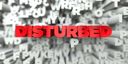 DISTURBED -  Red text on typography background - 3D rendered royalty free stock image. This image can be used for an online website banner ad or a print postcard.