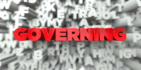 governing: GOVERNING -  Red text on typography background - 3D rendered royalty free stock image. This image can be used for an online website banner ad or a print postcard.
