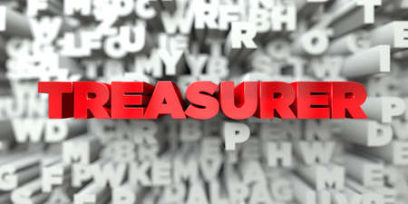 TREASURER -  Red text on typography background - 3D rendered royalty free stock image. This image can be used for an online website banner ad or a print postcard.
