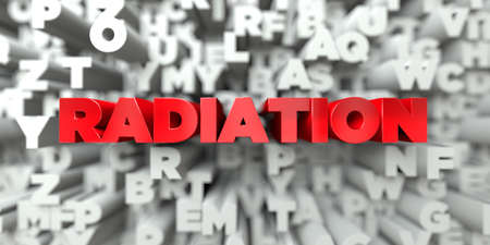 RADIATION -  Red text on typography background - 3D rendered royalty free stock image. This image can be used for an online website banner ad or a print postcard.