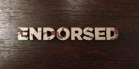 endorsed: Endorsed - grungy wooden headline on Maple  - 3D rendered royalty free stock image. This image can be used for an online website banner ad or a print postcard.