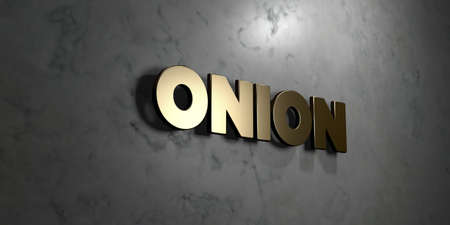 Onion - Gold sign mounted on glossy marble wall  - 3D rendered royalty free stock illustration. This image can be used for an online website banner ad or a print postcard. Stock Photo