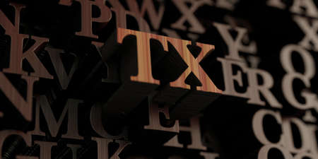tx: Tx - Wooden 3D rendered lettersmessage.  Can be used for an online banner ad or a print postcard.