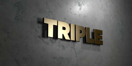 Triple - Gold sign mounted on glossy marble wall  - 3D rendered royalty free stock illustration. This image can be used for an online website banner ad or a print postcard.