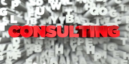 free image: CONSULTING -  Red text on typography background - 3D rendered royalty free stock image. This image can be used for an online website banner ad or a print postcard.