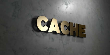 Cache - Gold sign mounted on glossy marble wall  - 3D rendered royalty free stock illustration. This image can be used for an online website banner ad or a print postcard.