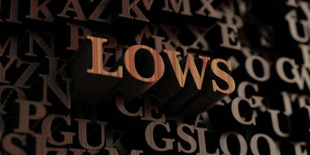 lows: Lows - Wooden 3D rendered lettersmessage.  Can be used for an online banner ad or a print postcard.