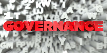GOVERNANCE -  Red text on typography background - 3D rendered royalty free stock image. This image can be used for an online website banner ad or a print postcard. Stok Fotoğraf - 72133477